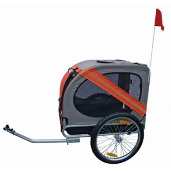 Hundeanhänger Fahrrad orange-grau