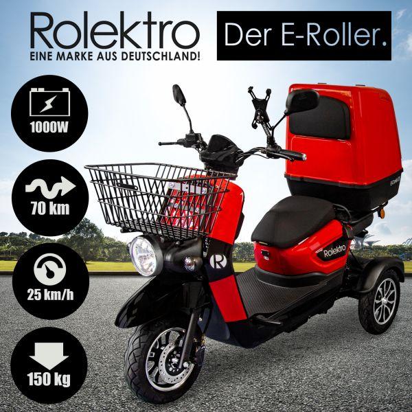 Rolektro, E-Carrier 25 V.3 Lithium, Rot, mit XXL-Koffer, 60V-32,5Ah Akku, 1000 Wat